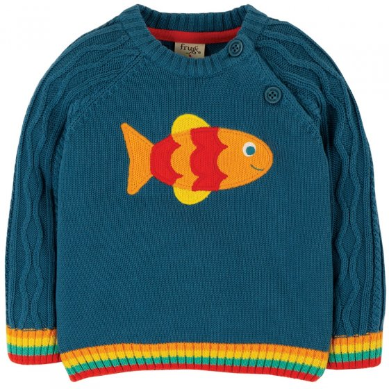 Frugi Fish Caleb Cable Knit Jumper