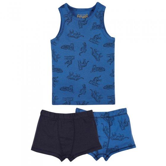 Frugi Cobalt Tigers Vest & Boxer 3 Piece Set