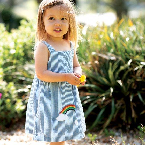 Frugi Cobolt Stripe Rainbow Alma Summer Dress