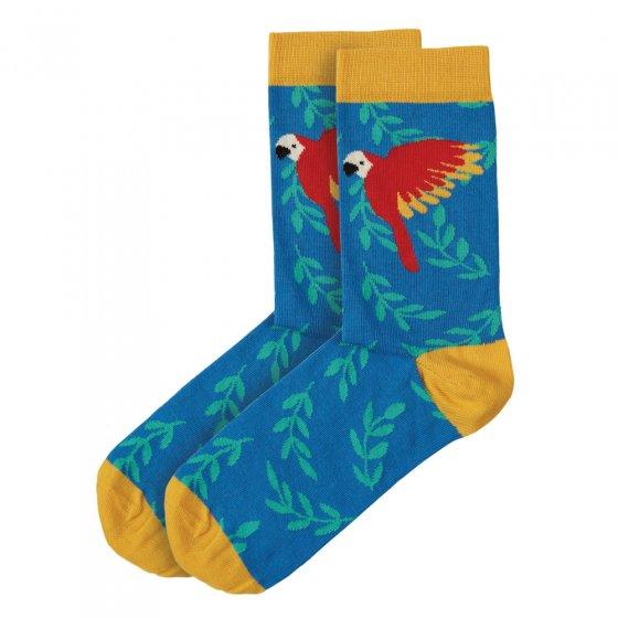 Frugi Colbalt Parakeets Big Foot Socks