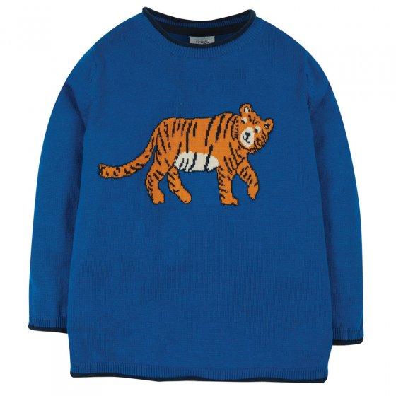 Frugi Cobalt Tiger Kian Knitted Jumper