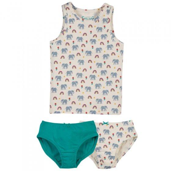 Frugi Elephant Vest & Brief 3 Piece Set
