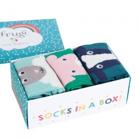 Frugi Festive Friends Paw-some Socks In A Box