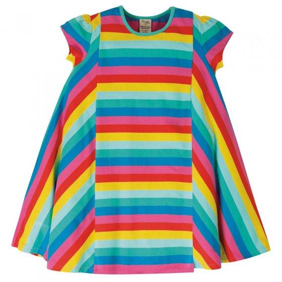 Frugi Flamingo Multi Stripe Elodie Twirly Dress