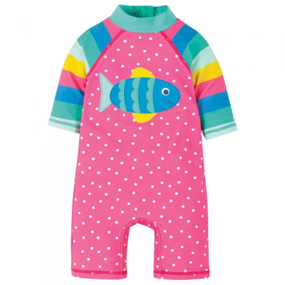 Frugi Flamingo Spot Fish Little Sunsafe Suit