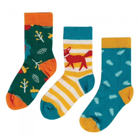 Frugi Fox Rock My Socks 3 Pack