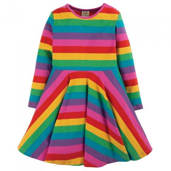 Frugi Foxglove Rainbow Stripe Sofia Skater Dress