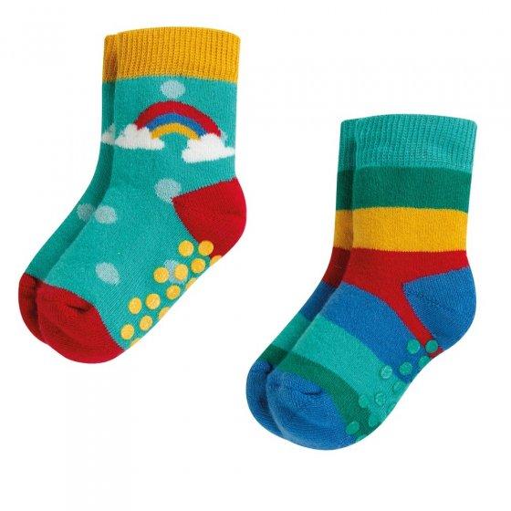 Frugi Grippy Rainbow Socks 2 Pack