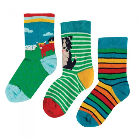 Frugi Highland Cow Rock My Socks 3 Pack