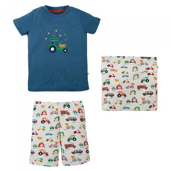 Frugi India Ink Car Snoozy Pyjamas Pack