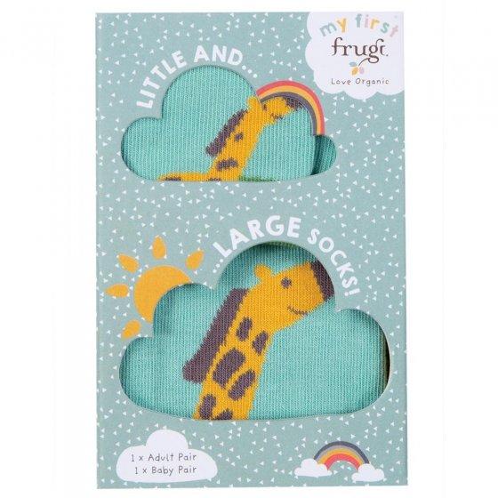 Frugi Little & Large Giraffe Socks 6-12 Months / Large Adult