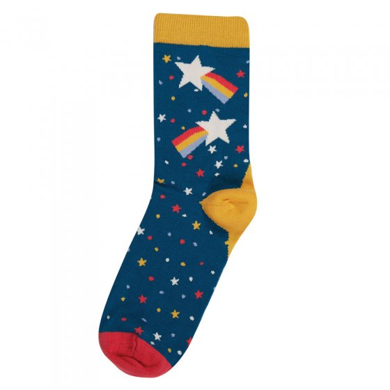 Frugi eco-friendly loch blue and stars kids big foot socks on a white background