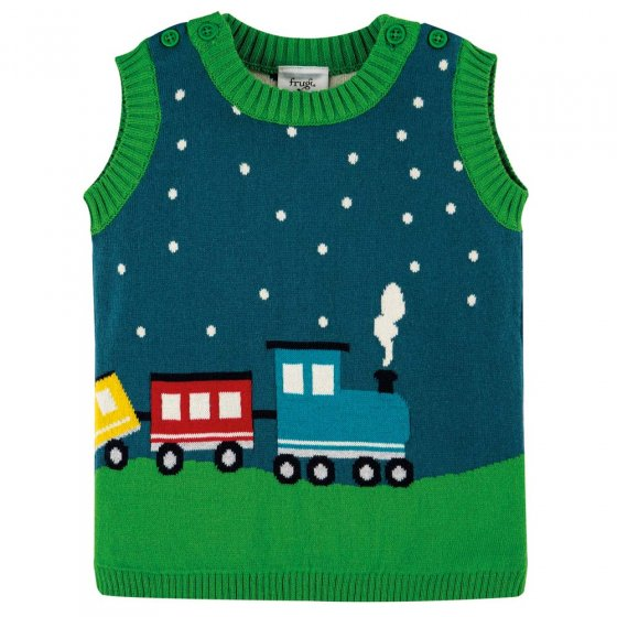 Frugi Loch Blue Train Hank Knitted Tank Top
