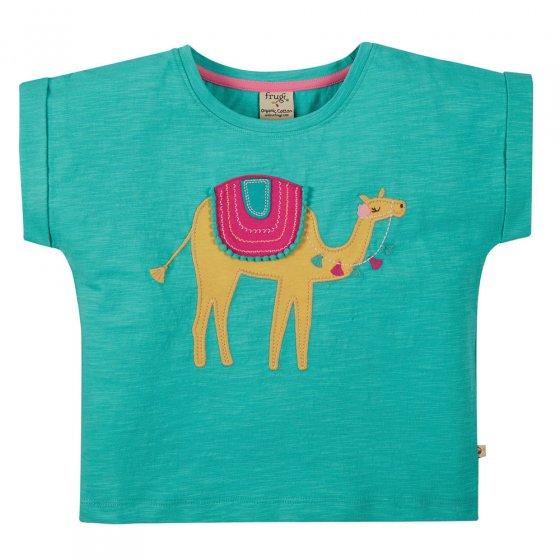Frugi Pacific Aqua Camel Sophia Slub T-Shirt