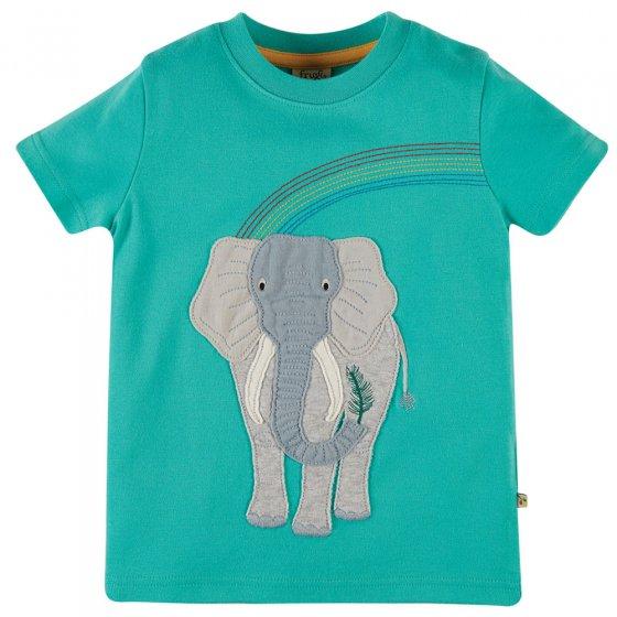 Frugi Pacific Aqua Elephant Carsen Applique T-Shirt