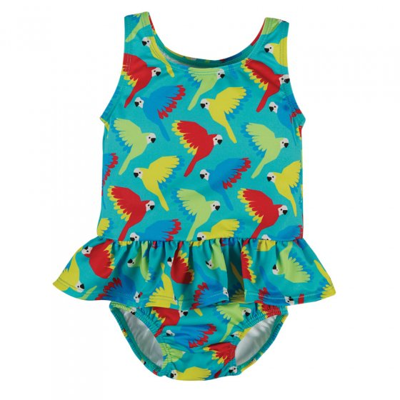 Frugi Pacific Aqua Parrots Newlyn Nappy Swimsuit