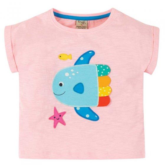Frugi Pink Fish Sophia Slub T-Shirt