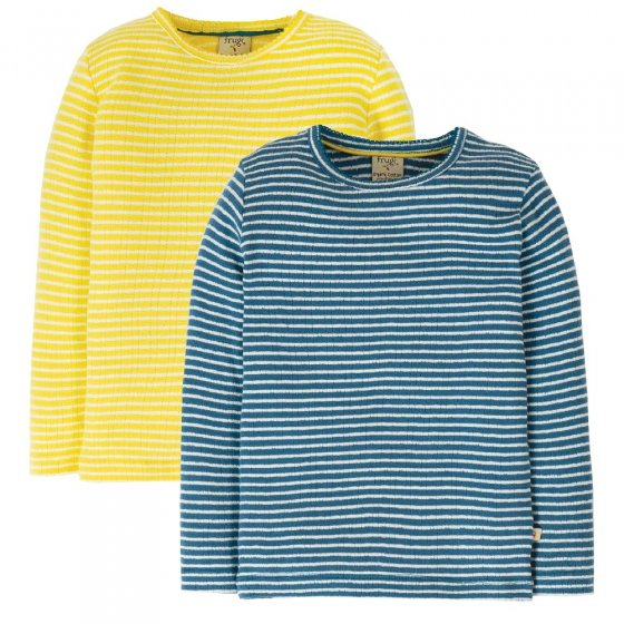 Frugi Blue & Yellow Pointelle Tops 2 Pack