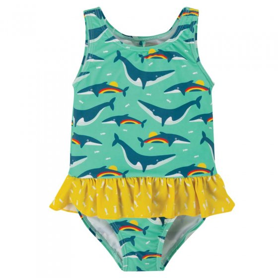 Frugi Rainbow Whales Little Coral Swimsuit