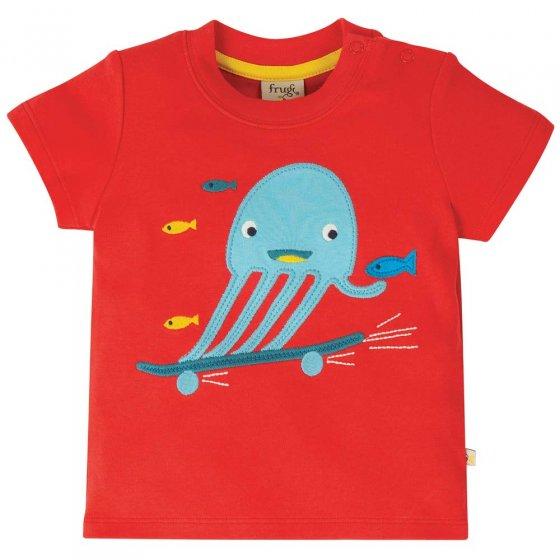 Frugi Red Jellyfish Little Creature Applique Top