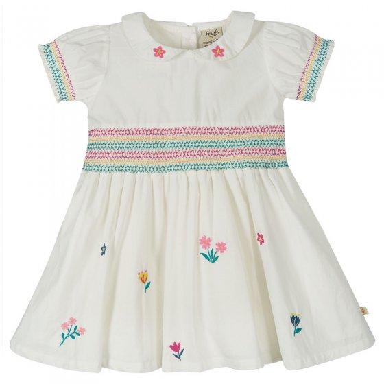 Frugi Soft White Flowers Posy Embroidered Dress