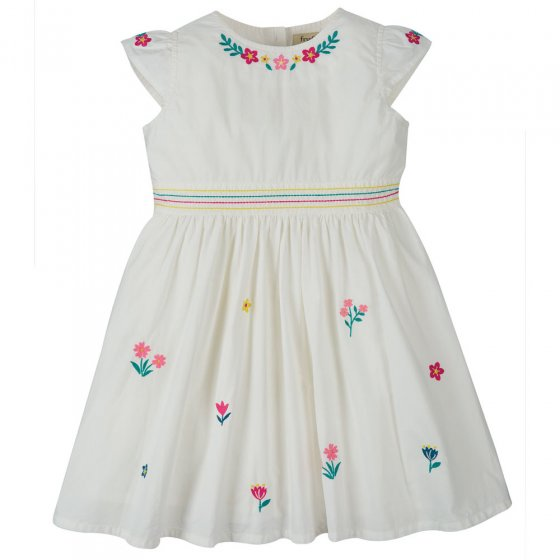 Frugi Soft White Flowers Rosy Embroidered Dress