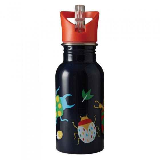 Frugi stainless steel kids navy water bottle with bug print on a white background