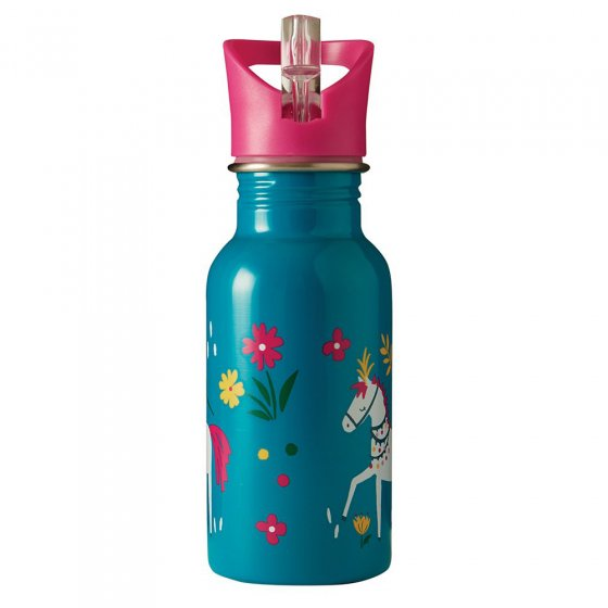 Frugi stainless steel childrens water bottle with horse and flower print on a white background
