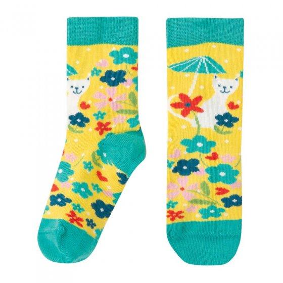 Frugi Sunflower Spot Cat Perfect Pair Socks