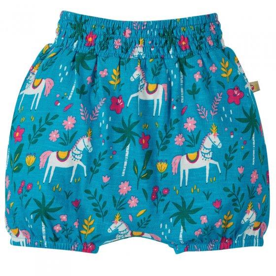 Frugi Teal Indian Horse Steph Smocked Shorts