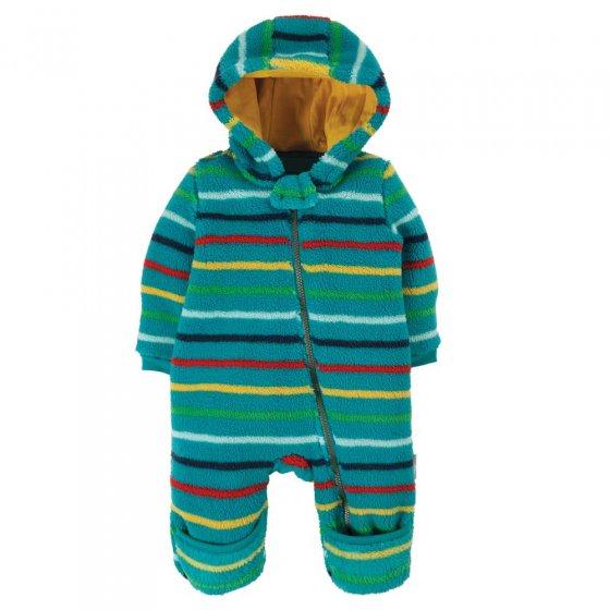 Frugi Tobermory Rainbow Stripe Ted Sleeve Snuggle Suit
