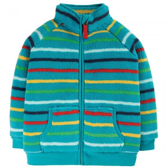 Frugi Tobermory Rainbow Stripe Zip Up Ted Fleece