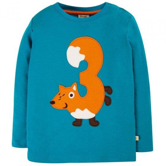 Frugi Tomermory Teal Fox Magic Number T-Shirt 3-4 Years