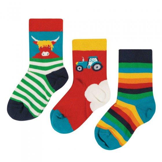 Frugi Tractor Little Socks 3 Pack