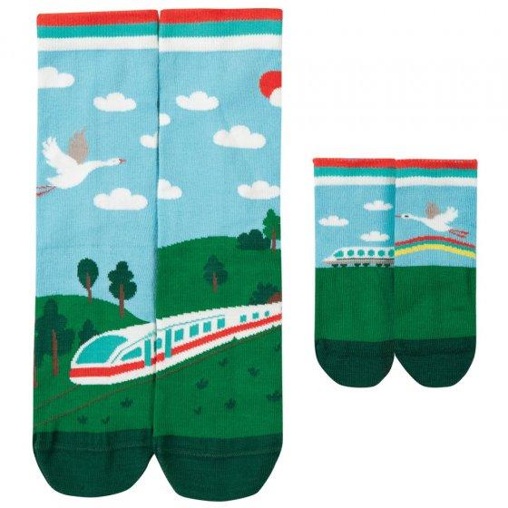 Frugi Train Me & You Matching Socks 1-2 Years / Large Adult