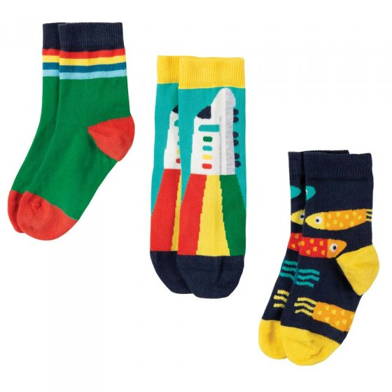 Frugi Train Multipack Rock My Socks 3 Pack