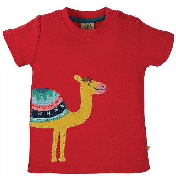 Frugi True Red Camel Little Creature Applique Top