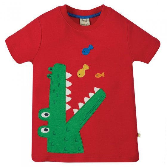 Frugi True Red Cow Carsen Applique T-Shirt