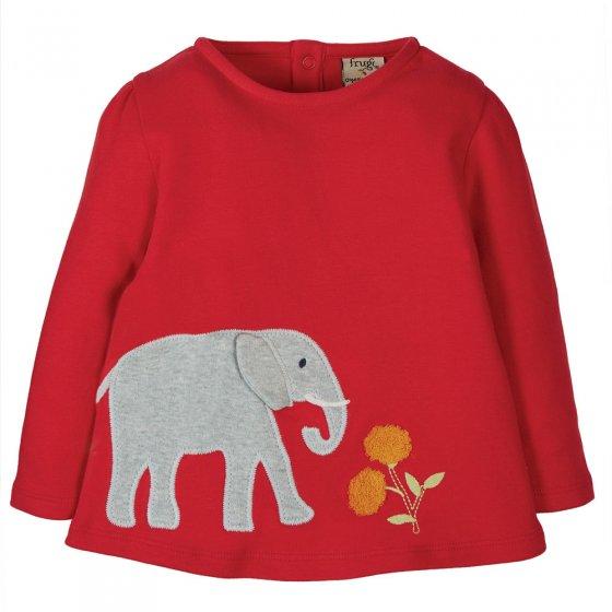 Frugi True Red Elephant Connie Applique Top