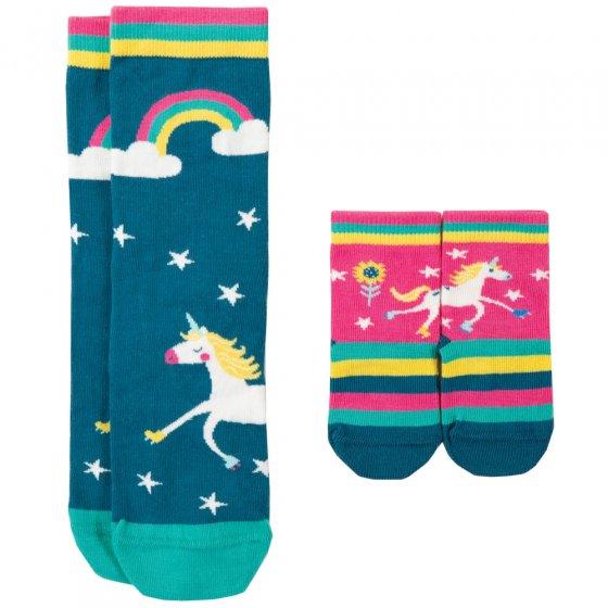 Frugi Unicorn Me & You Matching Socks 0-6 Months / Medium Adult