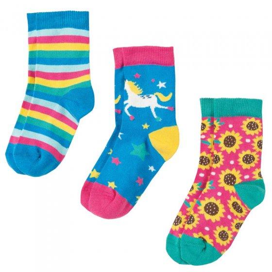 Frugi Unicorn Multipack Susie Socks 3 Pack