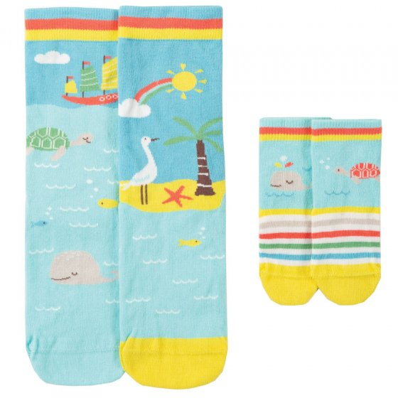 Frugi Whale Little & Large Socks 6-12 months / Medium Adult