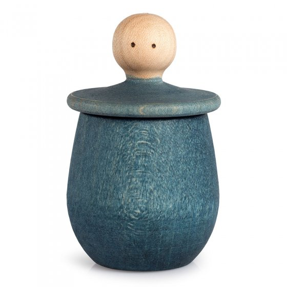 Blue Grapat Little Thing pot, with lid upturned revealing face, on a white background.