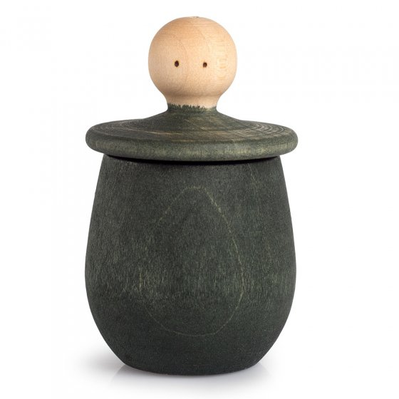 Green Grapat Little Thing pot, with lid upturned revealing face, on a white background.