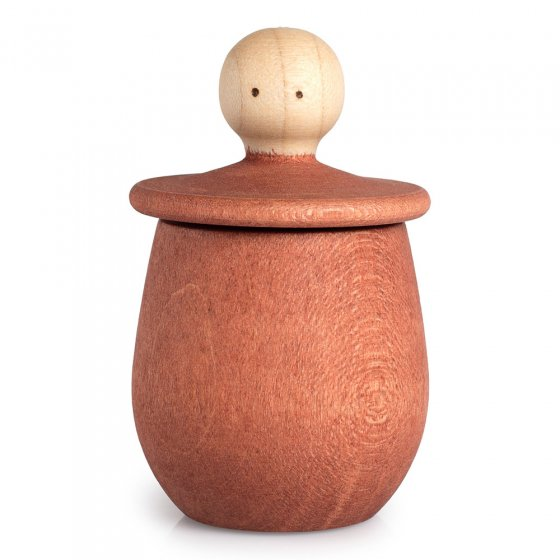 Orange Grapat Little Thing pot, with lid upturned revealing face, on a white background.