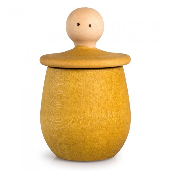Yellow Grapat Little Thing pot, with lid upturned revealing face, on a white background.