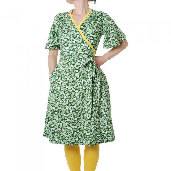 Duns Adult Green Wood Anemone Flutter Sleeve Wrap Dress