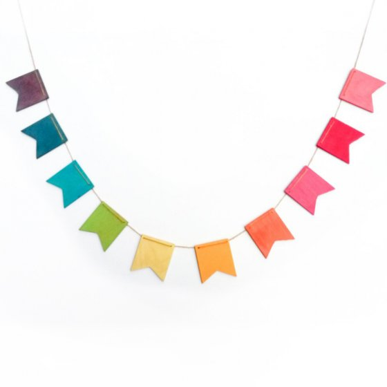 Hellion Toys eco-friendly handmade wooden rainbow bunting on a white background