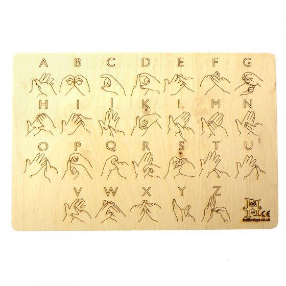Hellion Toys sustainable wooden British sign language alphabet learning board on a white background