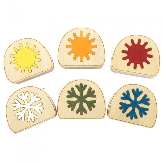Hellion Toys handcrafted eco-friendly wooden temperature blobs laid out in 2 rows on a white background